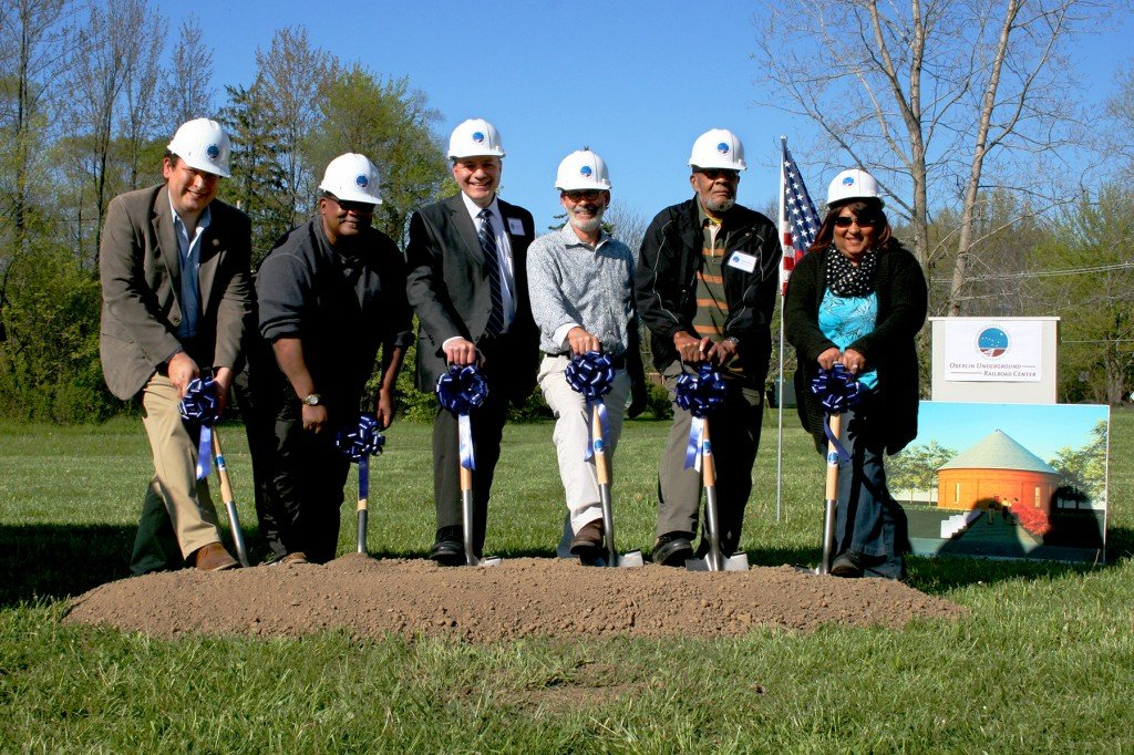 Breaking Ground! L-R: State Representative Dan Ramos, Council President Ron Rimbert, Interim City Manager Sal Talarico, Public Works Director Jeff Baumann, OURCIT Chair George Abram, Councilmember Sharon Pearson